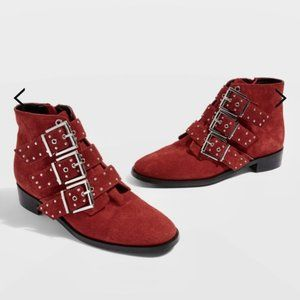NWT TopShop Krown Studded Boots Red Suede